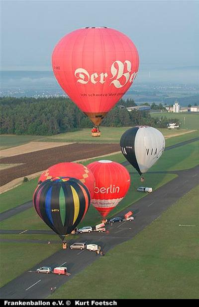 Ballonfahrt mit mehreren Ballonen vom Flugplatz Burg Feuerstein