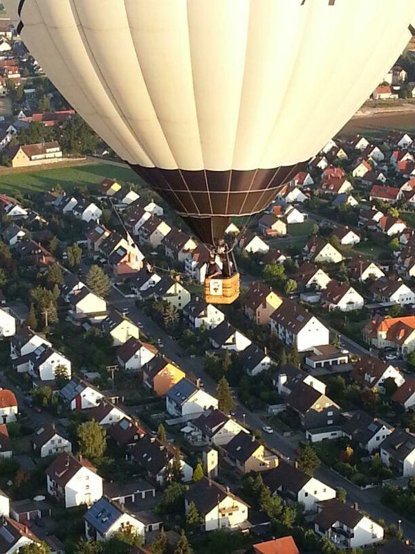 Blick aus dem Ballon auf den HVB-Ballon