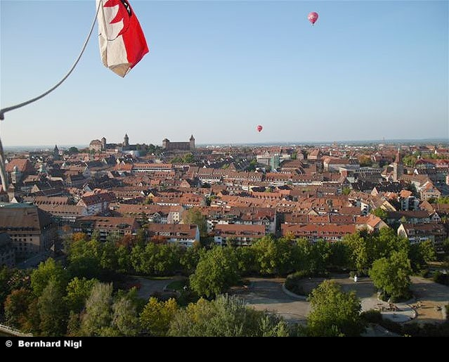 Blick auf Nürnberg aus dem Ballonkorb